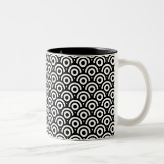 Black and White Geometric  Art Deco Style Two-Tone Coffee Mug