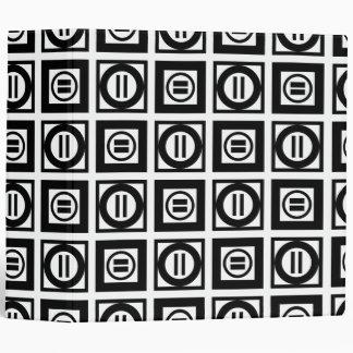Black and White Geometric Equal Sign Pattern 3 Ring Binder