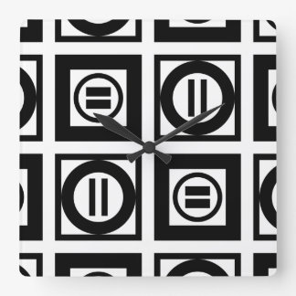 Black and White Geometric Equal Sign Pattern Square Wallclock