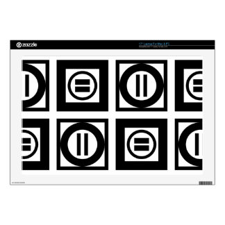 "Black and White Geometric Equal Sign Pattern Decals For 17"" Laptops"