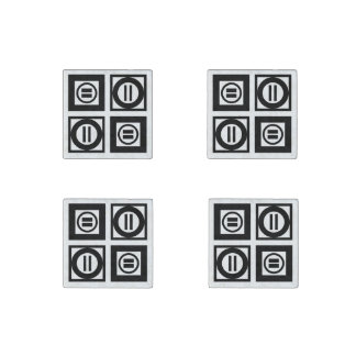 Black and White Geometric Equal Sign Pattern Stone Magnet