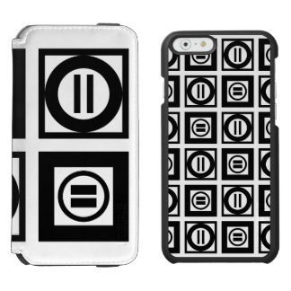 Black and White Geometric Equal Sign Pattern iPhone 6/6s Wallet Case
