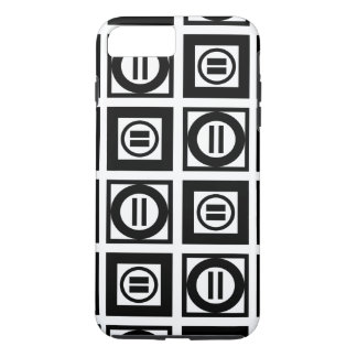 Black and White Geometric Equal Sign Pattern iPhone 7 Plus Case