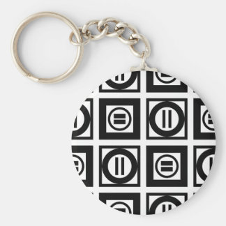 Black and White Geometric Equal Sign Pattern Keychain