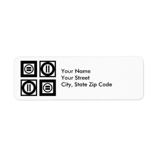 Black and White Geometric Equal Sign Pattern label
