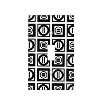 Black and White Geometric Equal Sign Pattern Light Switch Cover