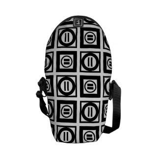 Black and White Geometric Equal Sign Pattern Messenger Bag