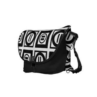 Black and White Geometric Equal Sign Pattern Messenger Bag