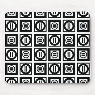 Black and White Geometric Equal Sign Pattern Mouse Pad