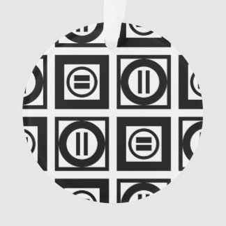 Black and White Geometric Equal Sign Pattern Ornament