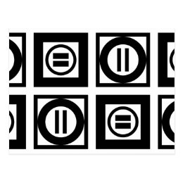 Black and White Geometric Equal Sign Pattern Postcard