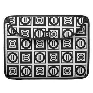 Black and White Geometric Equal Sign Pattern Sleeve For MacBooks