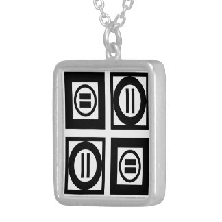Black and White Geometric Equal Sign Pattern Square Pendant Necklace