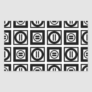 Black and White Geometric Equal Sign Pattern Rectangular Sticker