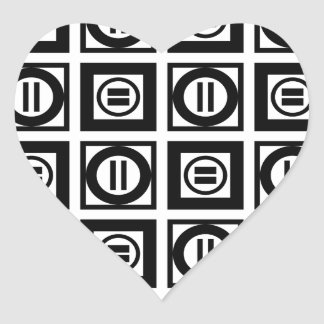 Black and White Geometric Equal Sign Pattern Heart Sticker