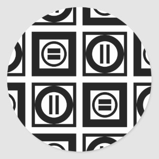 Black and White Geometric Equal Sign Pattern Classic Round Sticker