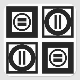 Black and White Geometric Equal Sign Pattern Square Sticker