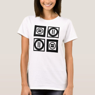 Black and White Geometric Equal Sign Pattern T-Shirt