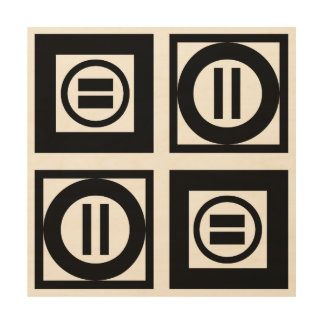 Black and White Geometric Equal Sign Pattern Wood Wall Decor