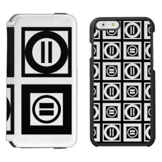 Black and White Geometric Equal Sign Patterns iPhone 6/6s Wallet Case