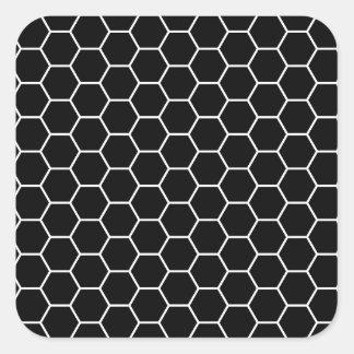Black and White Geometric Hexagon Pattern Square Sticker