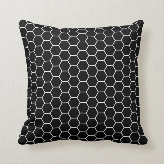 Black And White Geometric Throw Pillows : Black and White Geometric Hexagon Pattern Throw Pillow Zazzle.com