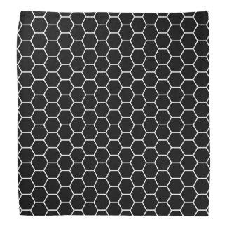 Black and White Geometric Hexagon Pattern Bandana