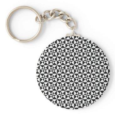 Beach Themed Black And White Geometric iIllusion Keychain