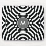 Black and White Geometric Illusion Monogram Mousepads
