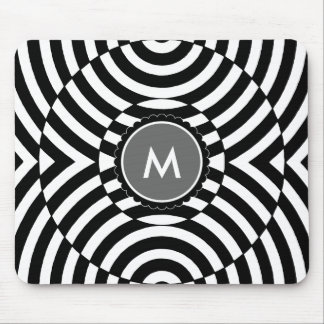 Black and White Geometric Illusion Monogram Mousepads