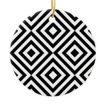 Black and White Geometric Line Pattern Ceramic Ornament