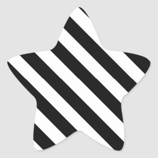 Black and White Geometric Line Pattern Star Sticker