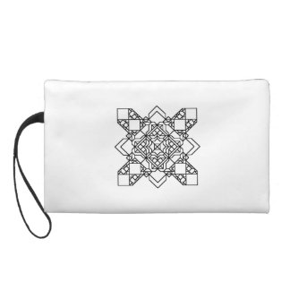 black and white geometric mosaic wristlet