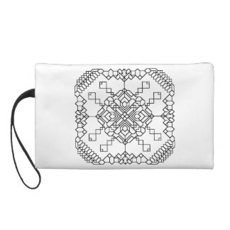 black and white geometric mosaic wristlet purse