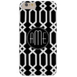 Black and White Geometric Pattern Custom Monogram Barely There iPhone 6 Plus Case