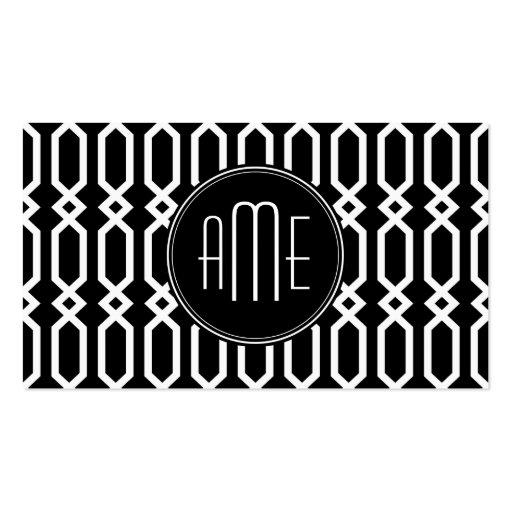Black and White Geometric Pattern Custom Monogram Business Cards