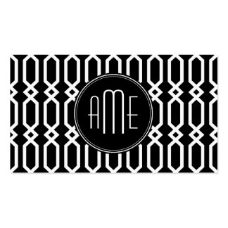 Black and White Geometric Pattern Custom Monogram Double-Sided Standard Business Cards (Pack Of 100)