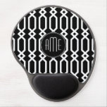 Black and White Geometric Pattern Custom Monogram Gel Mouse Mats