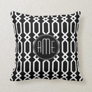 Black and White Geometric Pattern Custom Monogram Throw Pillow