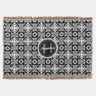 Black and White Geometric Pattern Monogram Name Throw Blanket