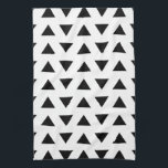 """Black and White Geometric Pattern of Triangles. Hand Towel<br><div class=""""desc"""">A simple monochrome design featuring a pattern of black triangles on white.</div>"""