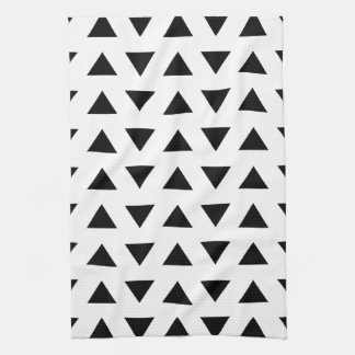 Black and White Geometric Pattern of Triangles. Hand Towel