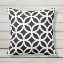 Black and White Geometric Pattern Outdoor Pillows