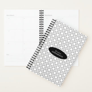 Black and White Geometric Pattern Personalized Planner