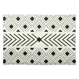 Black and White Geometric Pattern Place Mat