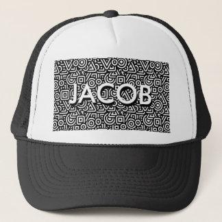 Black and White Geometric Pattern Trucker Hat