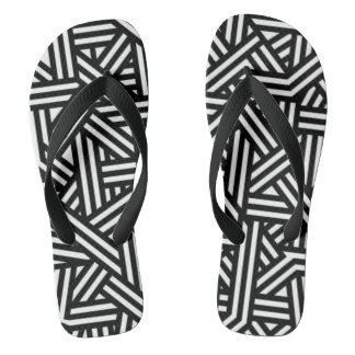 Black and White Geometric Patterned Flip Flops