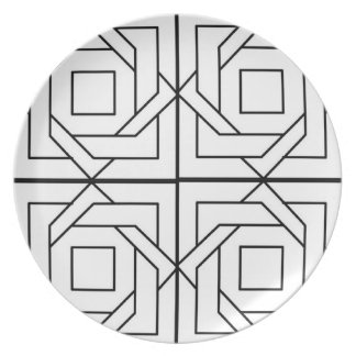 Black and White Geometric Plate
