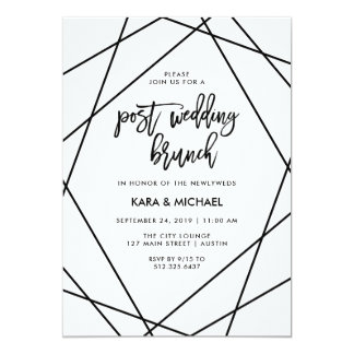 Black and White Geometric Post Wedding Brunch Card