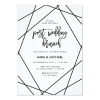 Black and White Geometric Post Wedding Brunch Invitation